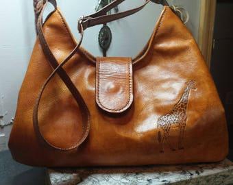 Beautiful Handmade Genuine Leather Hobo Bag with Handcarved Giraffe