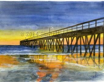 Hueneme Pier at Sunset -fine art print of original watercolor, ventura california, beach art