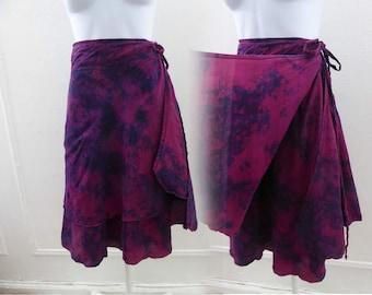 Vintage 60s Wrap Skirt Free size Red Purple Tie Dye Silk 70s India Hippie Boho