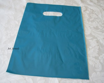 Plastic Bags, Blue Plastic Bags, Gift Bags, Favor Bags, Bags with Handles, Teal Blue, Merchandise Bags, Retail Shopping Bags 12x15 Pack 50
