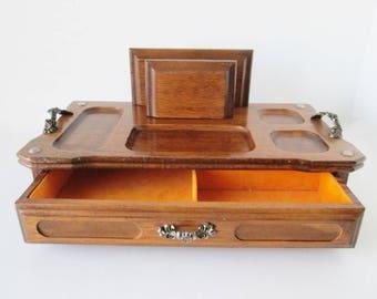 Wooden Dresser Valet Jewelry Desk Tray Cell Phone Organizer vintage box storage mad men bedroom mid century decor yellow gold drawer lining