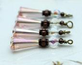 Old World Vintage Style Pink Teardrop Bead Earring Dangle Pendant Charm Drop Set