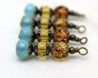 Opaque Blue Picasso Firepolished Czech with Czech Tortoise Beads and Yellow Glass Bead Dangle Drop Set