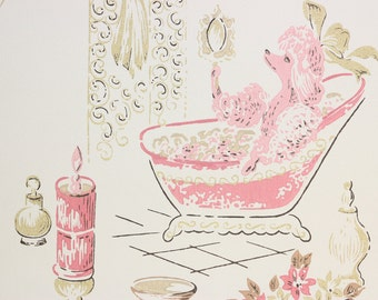 1970s Retro Vintage Wallpaper Pink Poodle Powder Room Vinyl by the Yard
