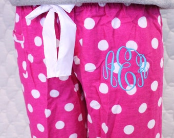 Monogrammed Girl's Polka Dot Pajama Pants, Flannel Pajamas, Personalized Pajamas, Mommy and Me, Pajama Pants, Polka Dot Pajamas, Monogrammed