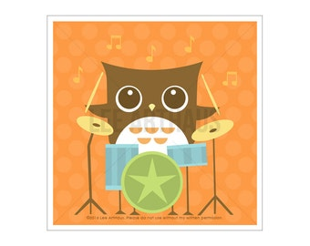 3A Owl Nursery Print - Owl with Drums Wall Art - Modern Owl Art - Retro Owl Print - Music Print - Drummer Print - Baby Boy Nursery Decor