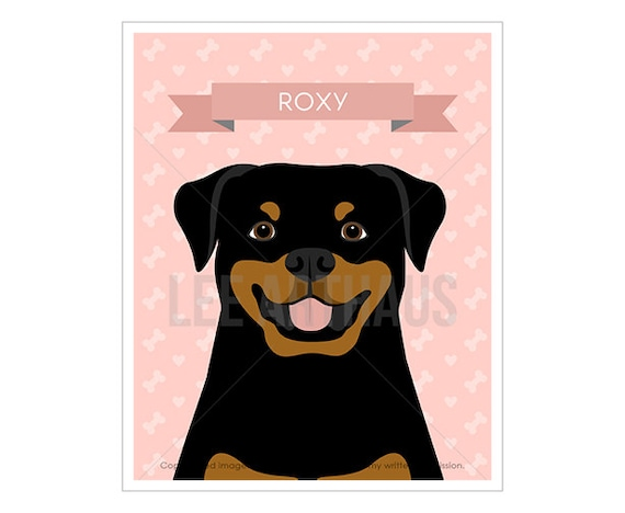 15N Dog Art Print - Personalized Rottweiler Wall Art - Rottweiler Print - Customized Dog Wall Art - Dog Gift Idea - Cute Rottie Drawing