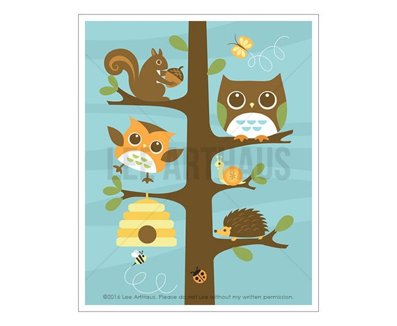 10A Owl Nursery Print - Forest Animals in Tree Wall Art - Nursery Wall Art - Woodland Nursery Decor - Owl Wall Decor - Squirrel Wall Art