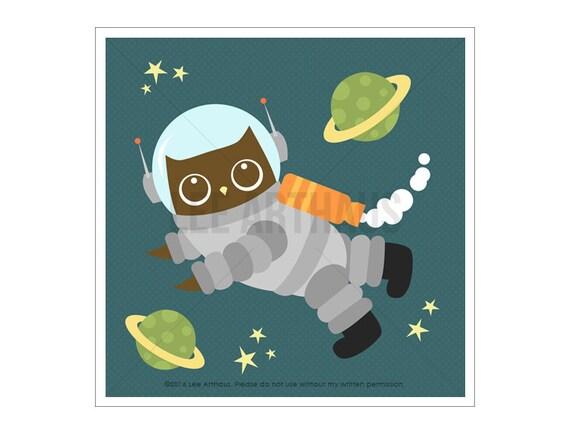 80A Baby Boy Nursery Art - Owl in Space Wall Art - Owl Print - Owl Wall Art - Astronaut Art - Woodland Nursery Decor - Owl Nursery Print