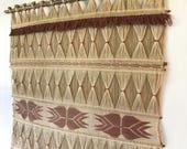 vintage wall weaving - fiber art hanging - handmade woven wall art