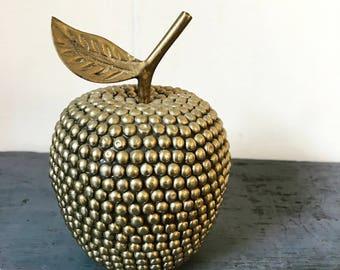 vintage brass apple - gold metal hobnail fruit - farmhouse kitchen - teacher gift