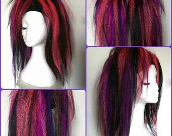 Pair of mixed pinks, purple and black hair falls. Instant style changer.