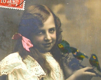 1900s French postcard, girl with BIRDS, RPPC, real photo postcard, paper ephemera.