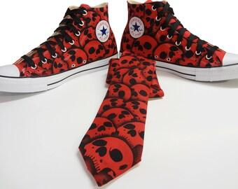RokGear Mens skull Converse canvas All Stars with matching Mens skull tie necktie custom painted by RokGear
