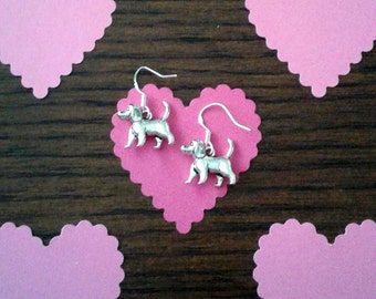 Tibetan Silver Double-Sided Dog Charm Earrings with Sterling Silver Ear Wires