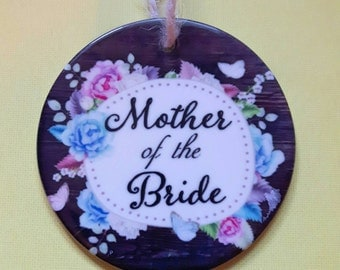 Mother of the bride or groom custom ceramic Christmas ornament.
