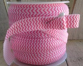 SALE- ROLL Pink and White  Chevron Foldover Elastic-50 yards-Less than 20 cents per yard!