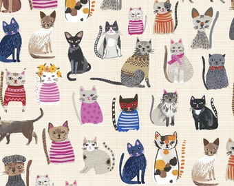 Cool Cats Cream - Hotdogs & Cool Cats 100% ORGANIC Cotton - Carolyn Gavin  - Windham Fabrics