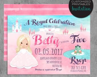 Custom Printable Fairy Tale Princess Invitations, Custom Pink Princess Birthday Party Invitation, frog prince, fairy tale, watercolor invite