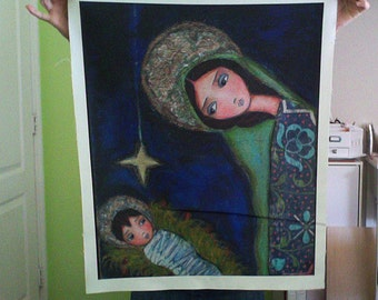 On Sale - Price already Reduced - Nativity Star - Huge -  Large Print on Fabric (22 x 29 inches) by FLOR LARIOS