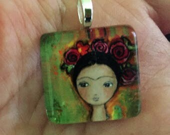Frida  - Original Small Glass Tile Pendant  by FLOR LARIOS ART