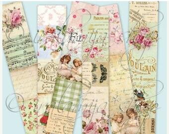 SALE VINTAGE STRIPS collage Digital Images  -printable download file- Digital Collage Sheet Vintage Paper Scrapbook