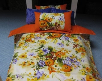5 Piece Orange And Purple Floral  American girl Inspired Doll Bedding