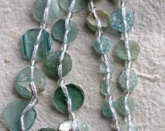ANCIENT ROMAN GLASS No. 220 .. Genuine Antique Roman Glass Fragment Beads (rg-220)