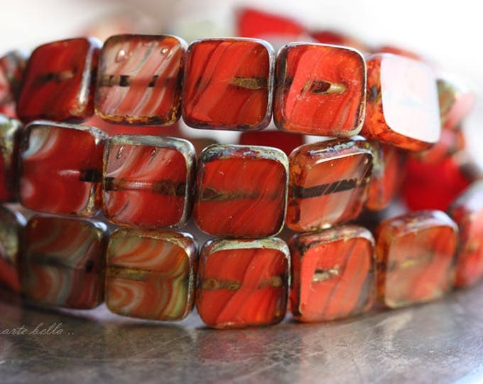 CORAL POPPIES .. 15 Premium Picasso Czech Glass Square Beads 9mm (B1018-15)