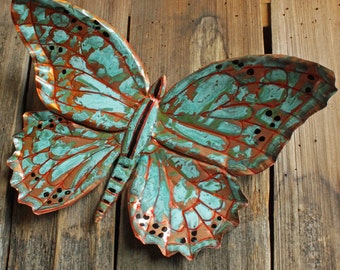 Butterfly - large copper metal insect sculpture - wall hanging - with turquoise and blue-green patina - OOAK