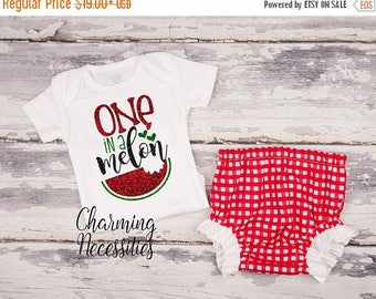 SALE NEW Baby Girl Summer Watermelon Outfit, Onesie, Toddler Set, Glitter Top Bloomies, Patriotic Red Gingham One in a Melon Charming Necess
