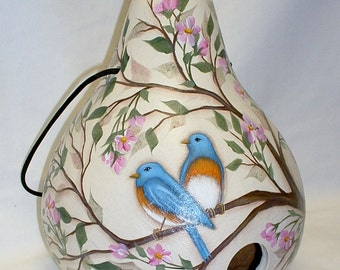Blue Bird and Cherry Blossoms Gourd Birdhouse - Hand Painted Gourd