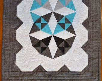 Focal Point Table Runner, designed by JoAnn Kerton, grey and turquoise