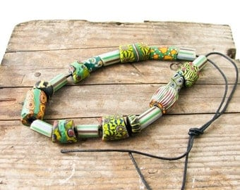 Sale African Trade Beads, Green. 19 Glass Beads, Vintage Jewelry Supplies