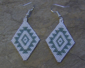 Navajo Rug Design Earrings Hand Made Seed Beaded