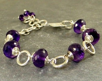 Amethyst Bracelet Wire Wrapped Jewelry February Birthstone Sterling Silver Gifts for Her