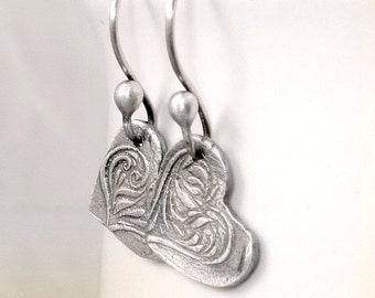 Heart Earrings, PMC Jewelry, Valentines Gift Fine Silver Jewelry