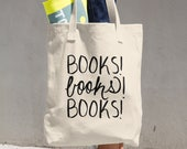 Books Books Books Canvas Book Tote Bag Reading Gift Reading Tote Bookish Gifts Gift for Booklovers
