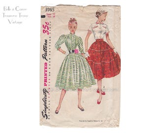 Vintage 1950s Blouse and Full Broom Skirt Sewing Pattern Young Teen Dress Bust 28 Simplicity 3985