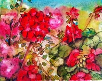 Between Roses and Geraniums, Original Mixed Media painting