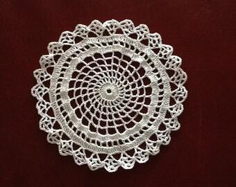 Doily / Hand Crocheted Doily  / White Doily / Free US Shipping / Bootsandbelle