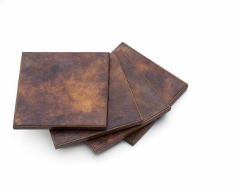 Brown Gold Coasters Watercolor Paper Handmade Paper Manly Gift Man Cave Decor Functional Art Wood Coasters Abstract Design