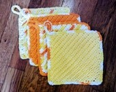 Crochet Kitchen Dish-washing Wash Cloth or potholder with loop cotton in citrus colors - custom order for Lori! set of 4