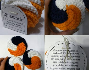 Denver Broncos Crochet Tawashi Bathing Pouf, Facial Exfoliating Cloth Dish Scrubby 3 pack scrubbies reusable eco-friendly loofah blue orange