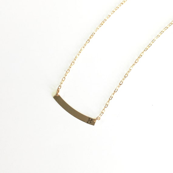 Solid Brass Initial Necklace Monogram minimalist Necklace