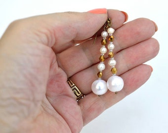 White pearls earrings with bronze crystals Real pearls earrings White and bronze earrings Pearl and bronze simple earrings Large pearl E1120