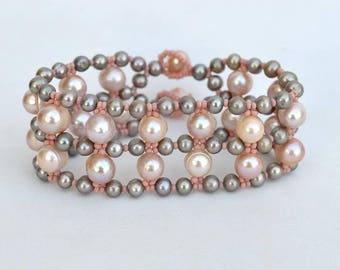 Pink and grey pearl bracelet Wide beadwork bracelet with pink and silver freshwater pearls Real pearls bracelet in pink and grey B300