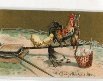 Vintage Easter Postcard Easter Bunny Rabbit snuggles with Rooster, Chicks, Hen