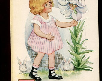 Easter vintage Postcard  Precious little girl with bunnies