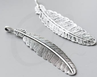 2pcs Oxidized Silver Base Metal Pendant-Feather 106x20mm (15735Y-G-84A)